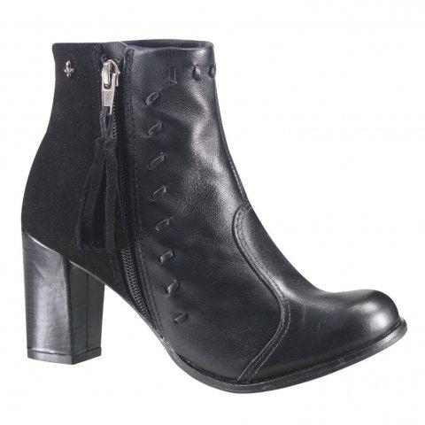 119ee49a9c Bota Ankle Boot Cravo e Canela 150204-2 - Preto (Mini Floater Top Camurça)  - Botas Online Femininas