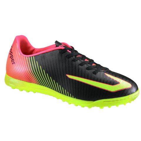 7f54196aa1 Chuteira Society Topper Ultra 4200410 0059 - Preto Amarelo Neon Coral Neon  - Botas Online Femininas