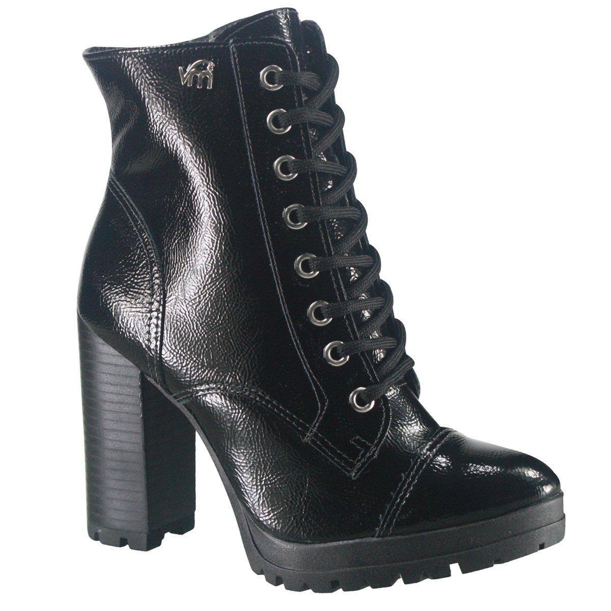 2d610a076 Bota Ankle Boot Via Marte 18-903 - Preto (Verniz Glamour) - Botas ...