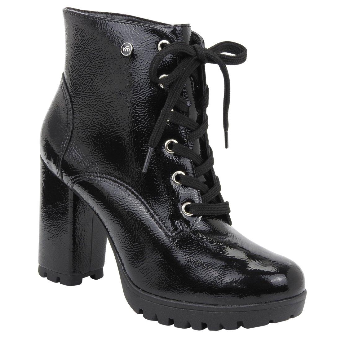 f3ef576f96 Bota Ankle Boot Via Marte 18-4405 - Preto (Verniz Glamour) - Botas ...