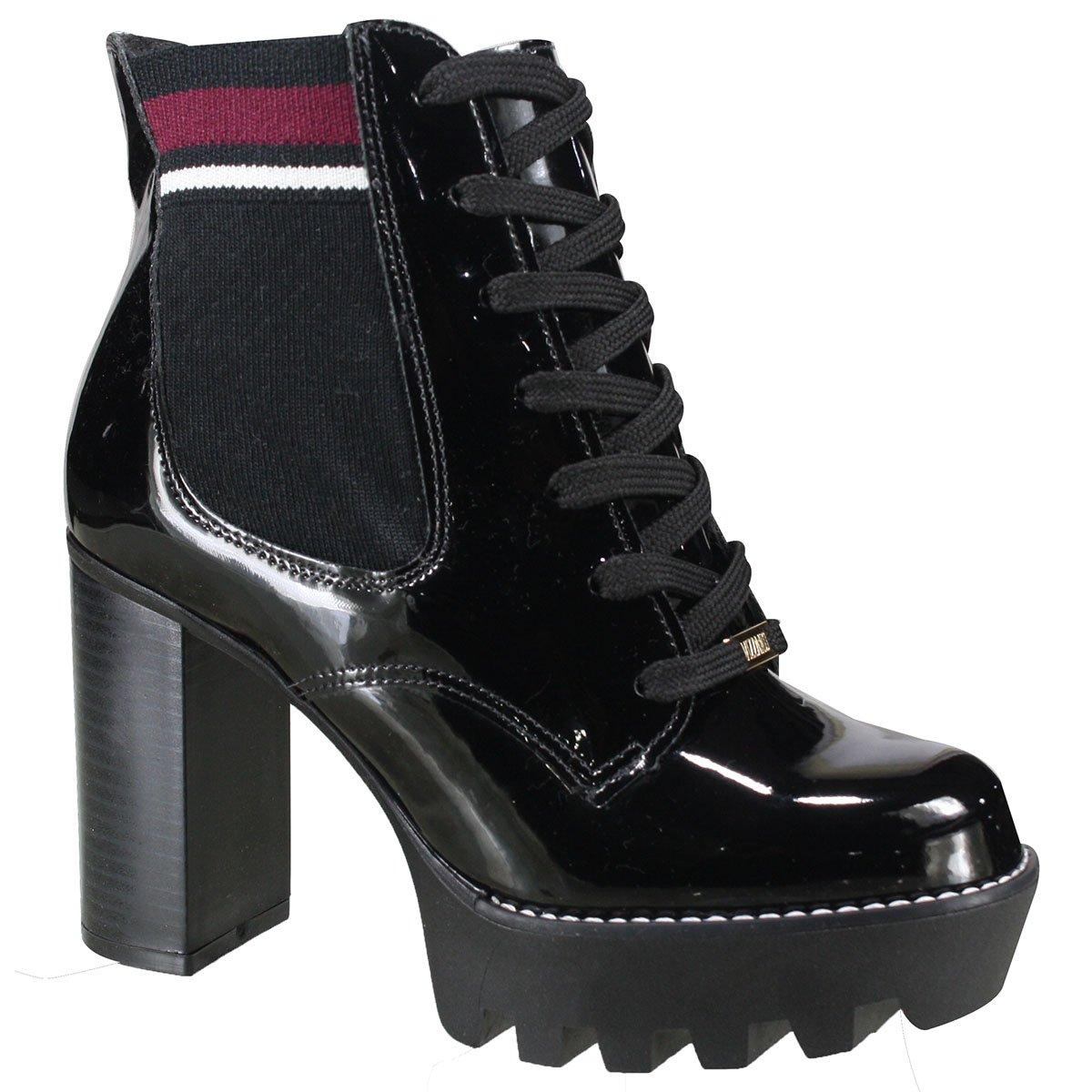 1bbface5ab Bota Vizzano Ankle Boot Feminina 3069.102 17742 66808 - Preto Vinho ...