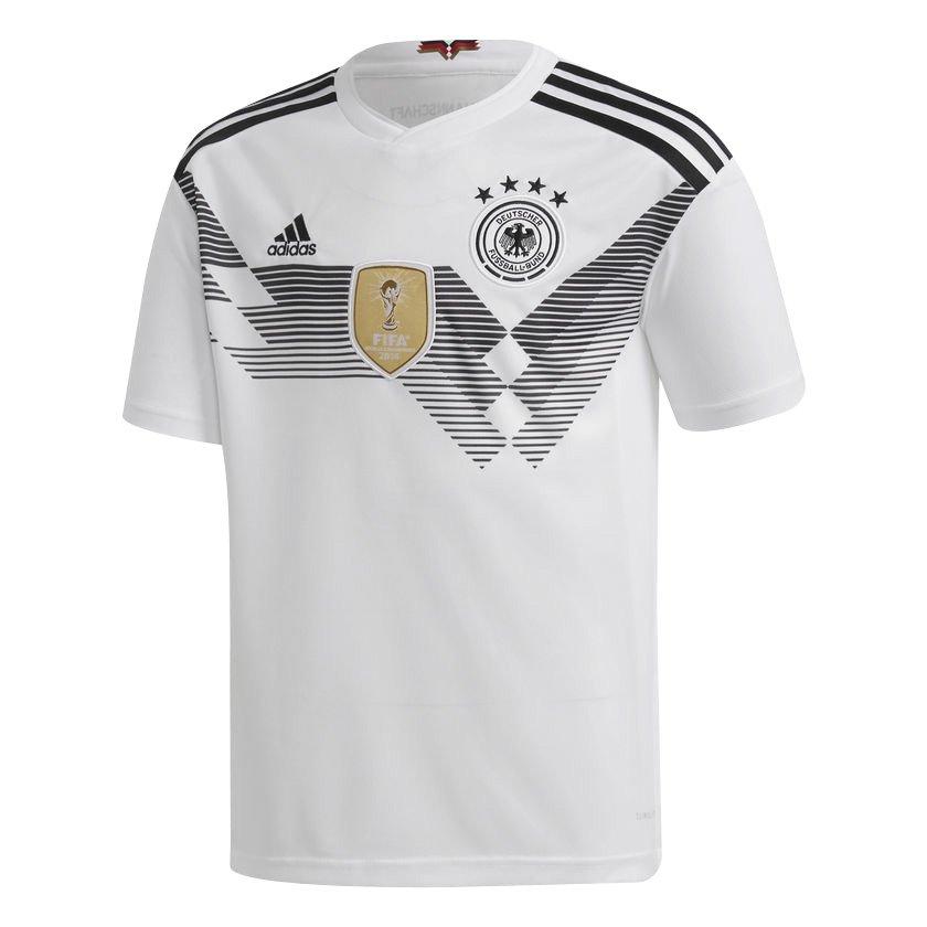 d6c02fa230 Camisa Adidas Oficial Alemanha I Infantil 2018 BQ8460 - Branco Preto ...