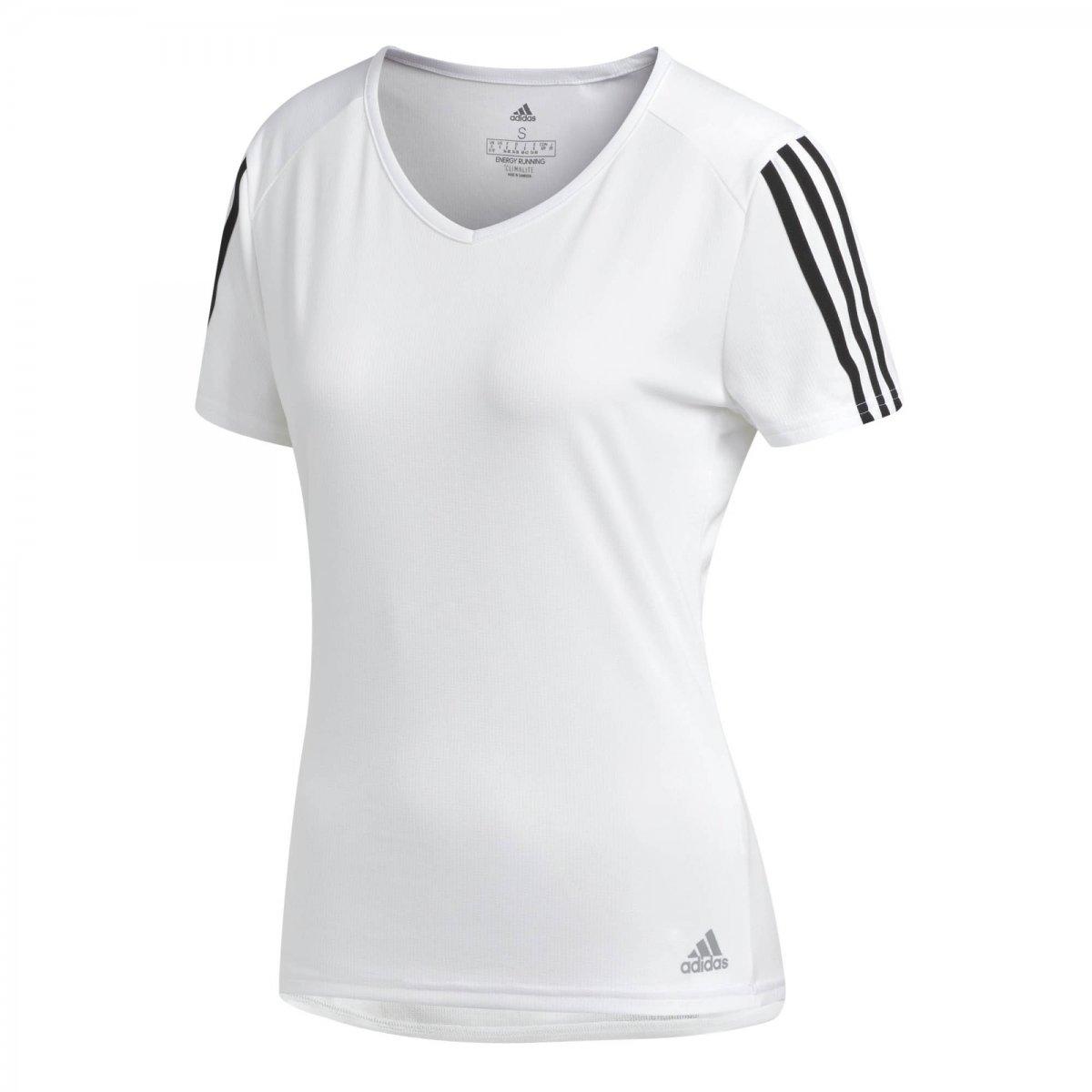 asiático Levántate loto  Camiseta Feminina Adidas Running 3-Stripes CZ7571 - Branco/Preto - Botas  Online Femininas, Masculinas e Infantis | Mundodasbotas.com.br