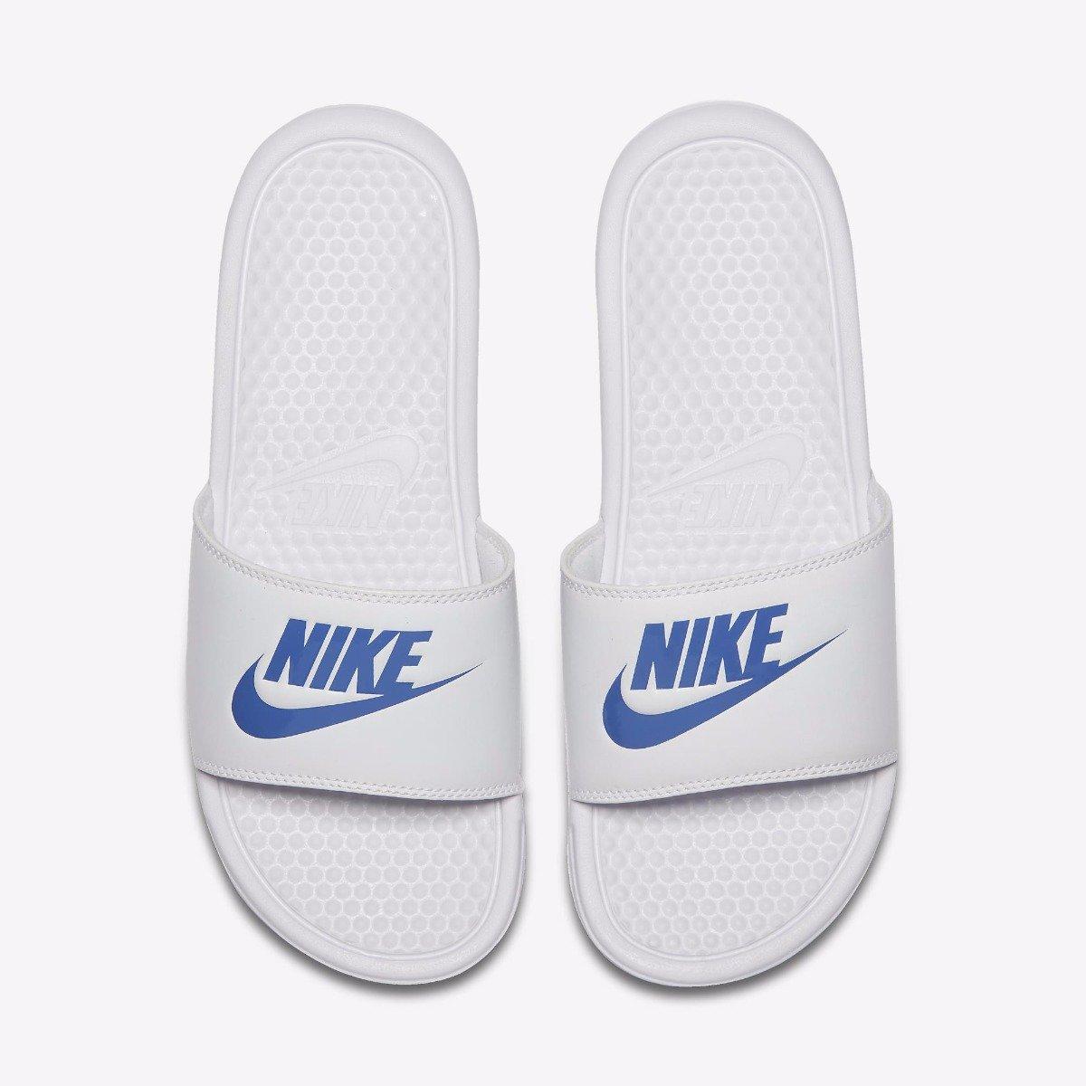 70a16619574 Chinelo Nike Benassi Just Do It 343880-102 - Branco Azul - Botas ...