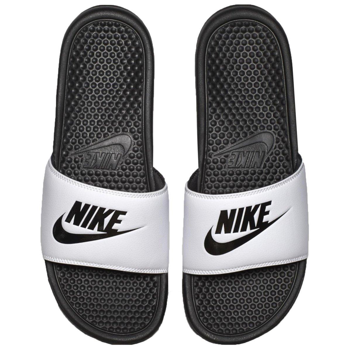 1e3118bf149 Chinelo Nike Benassi Just Do It 343880-100 - Branco Preto - Botas ...