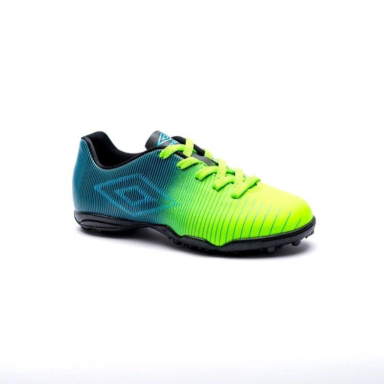 7ef05a048a Chuteira F7 Umbro Vibe JR Infantil 0F81039 513 - Verde Preto Azul ...