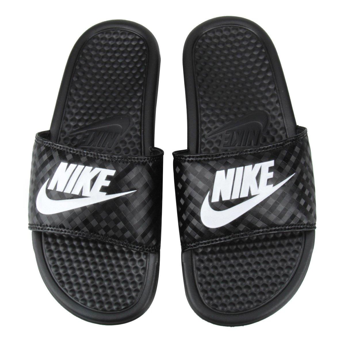 Sandália Nike Benassi JDI 343881-011 - Preto Branco - Botas Online ... 2244c0619ee