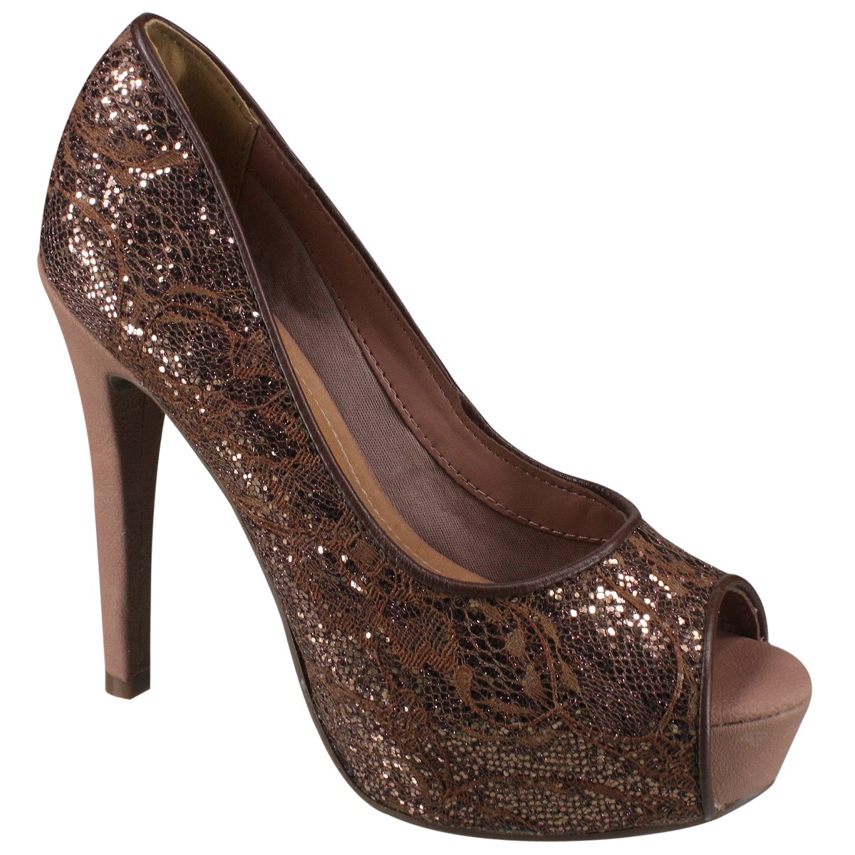 b37043028 Sapato Peep Toe Via Marte 16-1304 - Bronze/Antique (Renda Lux/Nobuck ...