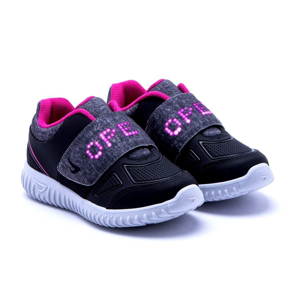 9c2631664 Tênis Infantil Ortopé Letra Led (Com Luz) 22590003 - Preto/Pink ...
